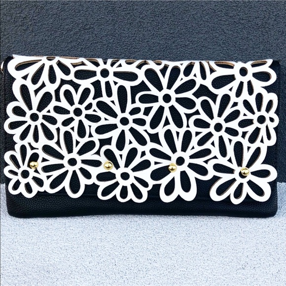 Handbags - Textured Clutch With Stylish Black And White
